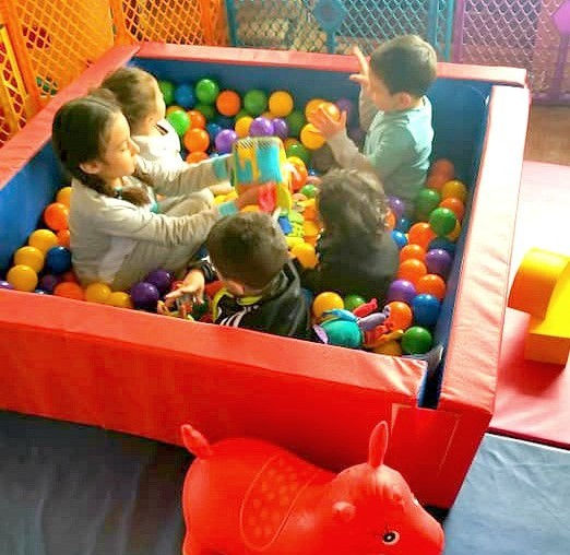 ball pit fun, on patio